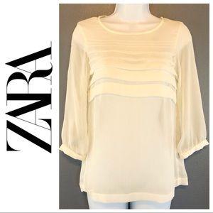 ZARA Semi Sheer Quarter Sleeve Blouse